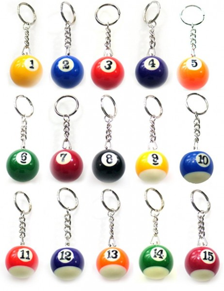 Box of 15 key rings with balls 1-15