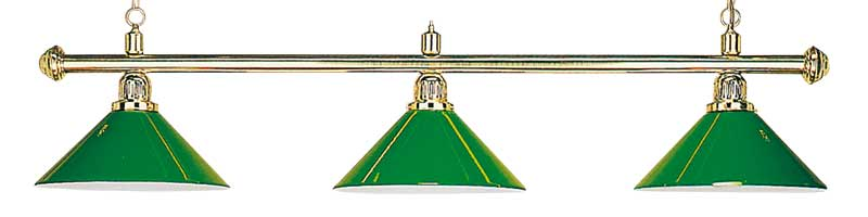 3 shades brass lamp green