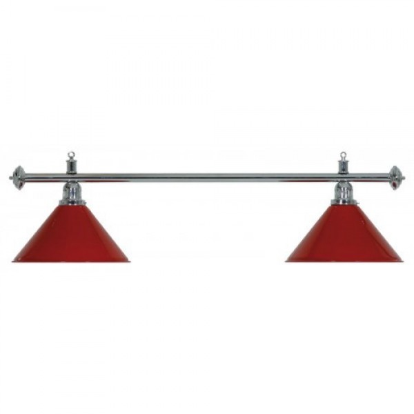 2-Shade Red Billiard lamp with silver axis
