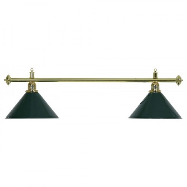 2-Shade Green Billiard lamp with golden axis