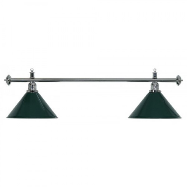 2-Shade Green Billiard lamp with silver axis