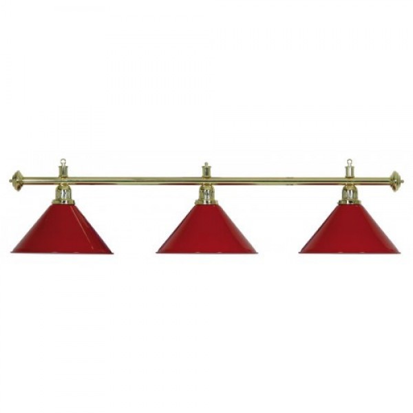 3-Shade Red Billiard lamp with golden axis