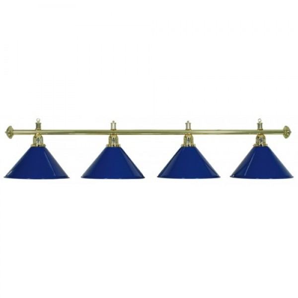 4-Shade Blue Billiard lamp with golden axis