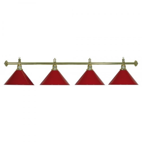 4-Shade Red Billiard lamp with golden axis