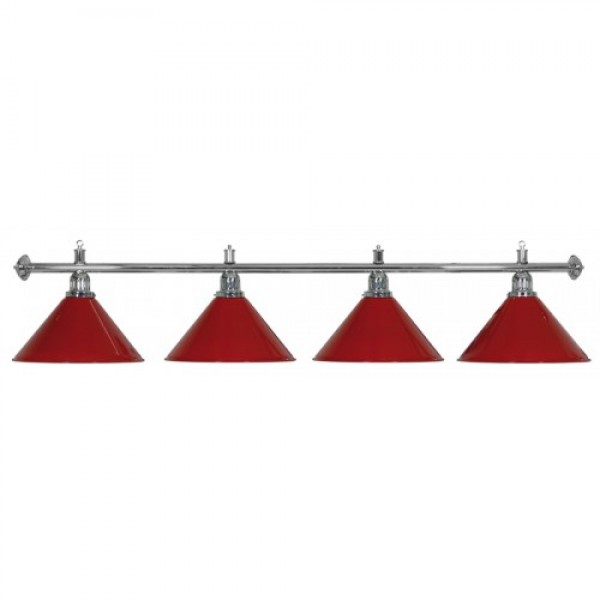 4-Shade Red Billiard lamp with silver axis