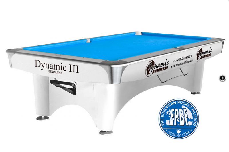 Dynamic III pool table 9ft white