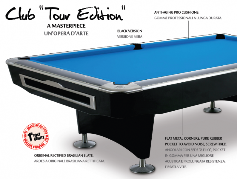 Prostar Club Tour Edition black 8 FT Pool table