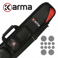Longoni Giotto Autumn 4x8 soft cue case - Karma Bara 4x8 Black and Red Cue Case