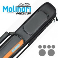 Molinari by Predator Kuro 2-2 Carom Billiard Cue - Molinari 2x4 Black-Orange cue case