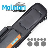 Molinari by Predator Kuro 2-2 Carom Billiard Cue - Molinari 3x6 Black-Orange Billiard Cue Case