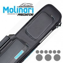 Molinari 2x4 Blak-Cyan Billiard Cue Case - Molinari 3x6 Black-Black Billiard Cue Case