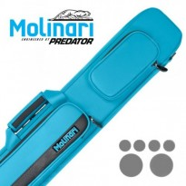 Molinari by Predator Kuro 2-2 Carom Billiard Cue - Molinari 2x4 Cyan and Black flat cue case