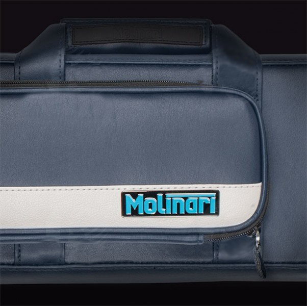 Molinari 2x4 Navy Blue and Beige flat cue case