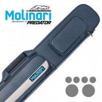 Molinari 3x6 Black-Black Billiard Cue Case - Molinari 2x4 Navy Blue and Beige flat cue case