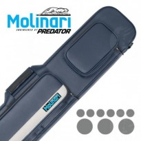 Molinari Cue-Tube cyan - Molinari 3x6 Navy Blue and Beige flat cue case